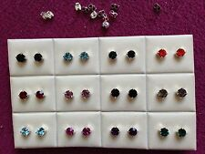 JOBLOT - 12 mix colors rhinestone diamonte pierced stud earrings. Silver plated.
