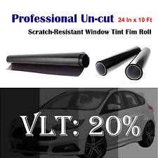 "Uncut Roll Window Tint Film 20% VLT 24"" In x 10' Ft Feet Car Home Office Glass"