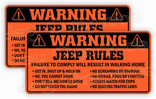 Jeep Rules Warning Stickers Funny Safety Decals JK JL JT Gladiator Wrangler -ORG