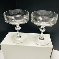 """Bleikristall Diamantschliff 2 Coupe Champagne Clear Stems Cut Crystal Glasses 5"""""""