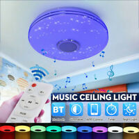 72W LED Ceiling Light Music RGB Bluetooth Speaker Lamp Dimmable W/Smart Remote