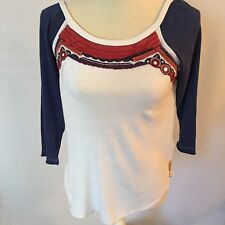 Free People Tee Womens Boho Top XS Multi-Color Embroidered Trim 3/4 Sleeve New