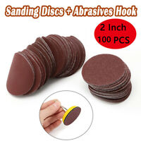 100x 2 inch Hook & Loop Sanding Discs Mixed Grit Backing Pad & 3mm Drill Adaptor