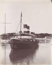 Egypte Titan remorqueur Canal de Suez Vintage Albumine ca 189