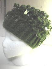 Vintage 60s KNIT Hat Cap Beanie VGC Beret GOLD Thread SEQUINS Green Japan