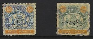 RHODESIA (BSAC) £50 large format revenues from both Perkins Bacon and Waterlow