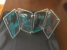 "VNTG Miniature 10"" Room Divider 4 Panel etched glass Screen folding decor rare"