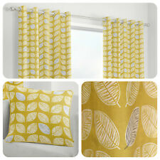 Fusion DELFT Ochre Yellow Leaf Patterned 100% Cotton Eyelet Curtains & Cushions