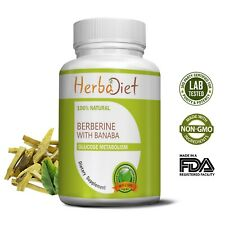 Berberine HCL Extract with Banaba Leaf 500mg Capsules 40:1 Blood Sugar Control