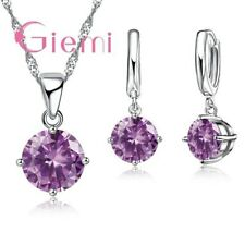 925 Sterling Silver Violet Crystal Pendant And Necklace and Earring Set  UK