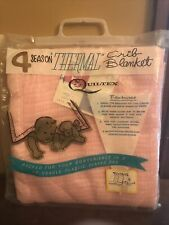 NOS Vintage Quiltex Baby Crib Thermal Blanket Polyester Rayon Pink Weave 36 X 50