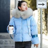 6 Colors Womens Velvet Hooded Down Coat Fur Collar Winter Jackets Puffer Parka