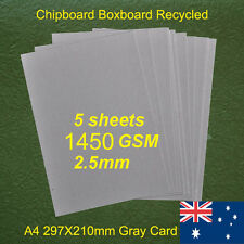 5 X A4 Chipboard Boxboard Cardboard Recycled Gray Card 1450gsm 2.5mm