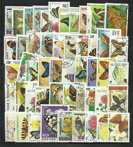 BUTTERFLIES Collection Packet of 100 Different Stamps-WHOLESALE LOT of 6 Packets