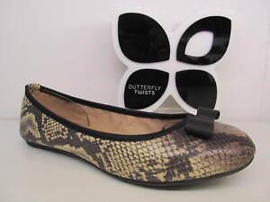 Butterfly Twists Twist Chloe Stone Beige Snake Bow Flat Ballerina Shoe