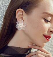Women Elegant Ear Stud Crystal Flower Drop Long Dangle Earrings Jewelry