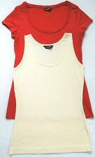 Dorothy Perkins Two Cotton Tops Sleeveless Cream Vest Top & Red T-Shirt Size 10