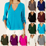 Womens Chiffon Ladies Casual Blouse Holiday Long Sleeve Plunge Tee Buttons Tops