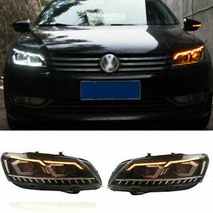 For Volkswagen Passat LED Headlights Projector LED DRL 12-15 Replace OEM Halogen