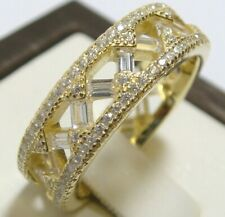 Ring Size 7 14k Yellow Gold 925 Sterling Silver Simulated Diamond Eternity Band