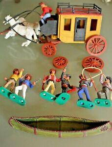 Figurine Plastique ancien TIMPO TOYS BRITAINS  Cow-boy diligence canoé Années 70