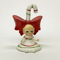 "Vintage Lefton Japan 3"" Christmas Girl Pixie Elf Candy Cane Bell Figurine"