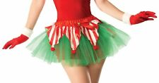 Candy Cane Tutu Christmas Crinoline Elf Red Green Adult Womens Costume Accessory