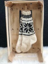 Wool Socks Natural Pure Sheep Wool Hand Knitted Cosy Sofa Bed Size  UK 3-6