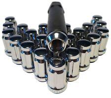 24 Chrome 6 Spline Drive Tuner Wheel 7/16 Lug Nuts With 6 Spline Key (7/16-20)