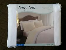 Truly Soft King Size White Sheet Set Flat, Fitted Deep Pocket, Pillow Cases