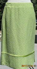 NWT St John Couture yellow-green below the knee knit pencil skirt size 12