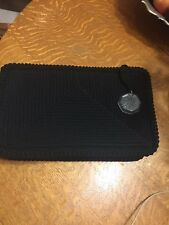 VINTAGE HEAVY CROTCHET BLACK ZIPPERED CLUTCH WITH LUCITE ZIPPER PULL