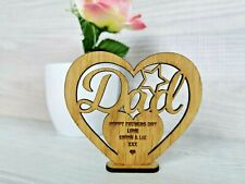 Personalised Fathers Day Gift for Dad Wooden Heart Plaque Freestanding Oak Gift