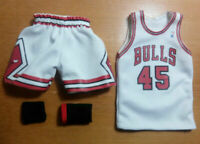Custom 1/6 CHICAGO BULLS MICHAEL JORDAN jersey 23 45 NBA TOYs home white