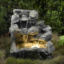 Rock Cascading Garden Fountain Light Floor Indoor Outdoor Water Electric Pump