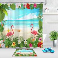 "Sea Beach Tropical Leaves Flamingo Fabric Shower Curtain Set Bathroom Decor 72"""