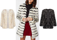 Women Faux Fur Casual Black Collarless Vintage Trench Jacket Coat  Outwear UK