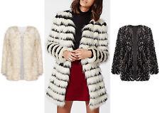 Women Faux Fur Casual Black Collarless Vintage Trench Jacket Coat  Outwear UK
