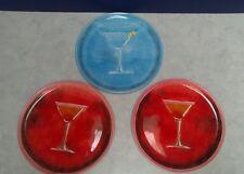 Set of 3 Artland Classic Martini Plate Collection Cocktail Recipe Salad Plates