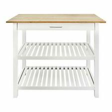 Casual Home Kitchen Island with Solid American Hardwood Top, White New