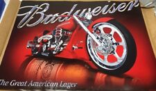 NEW Posters BUDWEISER BEER MOTORCYCLE Pub Sign Chopper NOS Poster