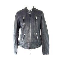 OUI Damen Lederjacke Jacke Leder Dunkelblau Größe 38 40 Bikerstyle UVP 299 Neu