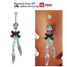 Blue Crystal Gem Bow Feather Leaf Bead Long Dangle Navel Belly Ring Bar Piercing