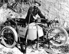 ANTIQUE REPRO 8 X10 PHOTOGRAPH 1900 YALE MOTORCYCLE AND WINCHESTER RIFLE GUNS