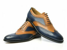 Handmade Blue & Tan Leather Correspondent Wingtips two tone men shoes-ALL SIZE