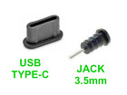 Dust Guard Plug Stopper Set for USB Type-C & Audio Jack 3.5mm Port Black Rubber