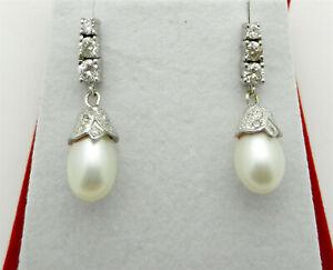 Vintage 14k White Gold Drop Oval PEARL & Diamond Earrings 8 grams