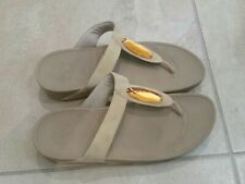 Fitflop Beige Thong Sandals with Stone Flip Flops Womens Size 11