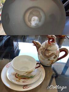 Vintage Dragon Ware Geisha Lithophane Tea Cup, Saucer, Plate & Teapot