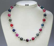 "Multi-colour pink green blue quartz stone bead necklace, silver spacers 19""+2"